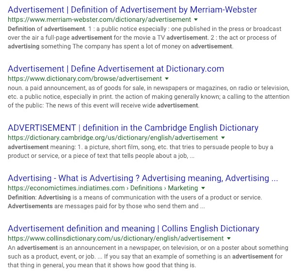 Advertisement definitions
